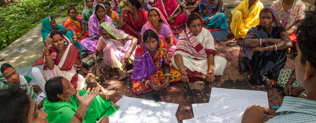 Frauengruppe der Women's Federation in Jharkand, Indien
